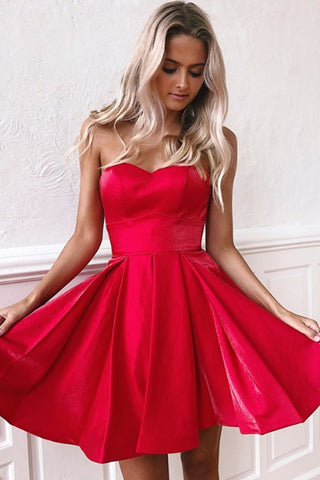 MACloth Strapless Sweetheart Mini Prom Homecoming Dress Red Cocktail Party Dress