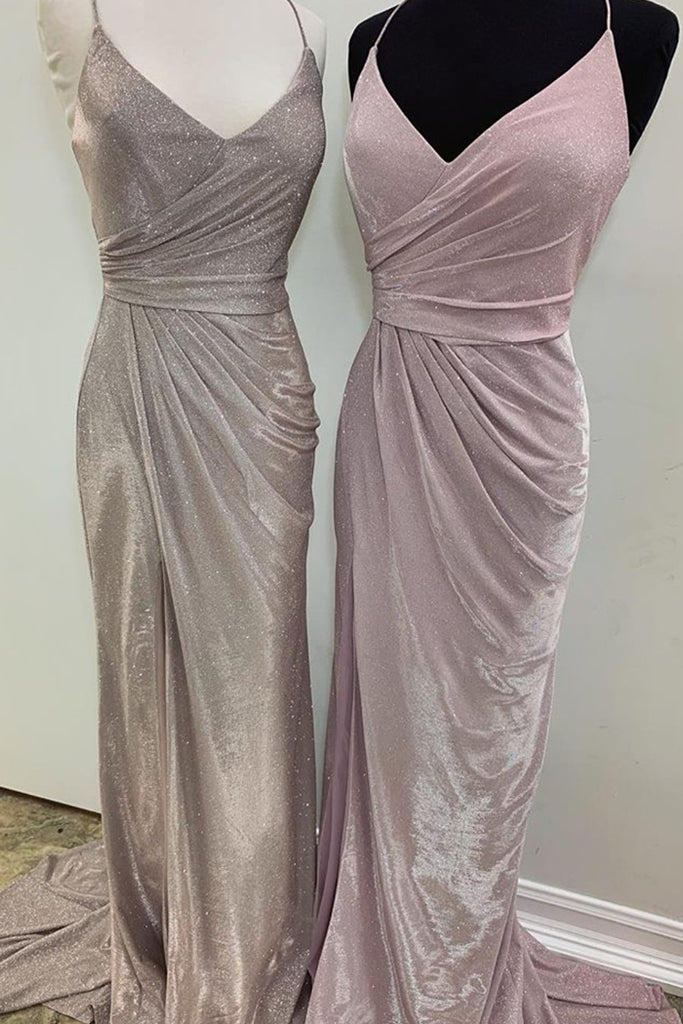 MACloth Straps V Neck Mermaid Long Prom Dress Pink Silver Formal Evening Gown