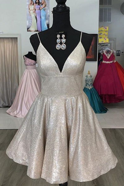 MACloth Spaghetti Straps V Neck Mini Prom Homecoming Dress Aqua Silver Cocktail Dress