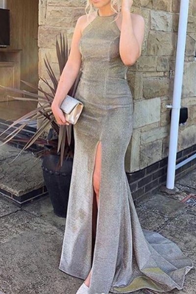 MACloth Mermaid O Neck Prom Dress with Slit Mocha Silver Formal Evening Gown