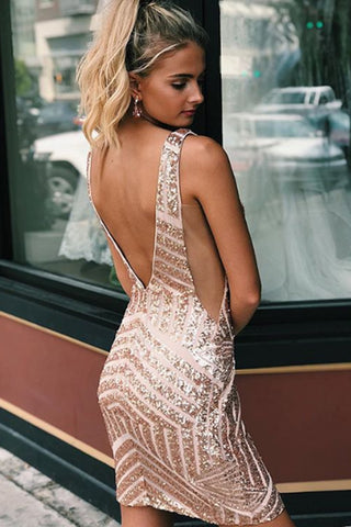 MACloth Straps V Neck Sequin Rose Gold Prom Homecoming Dress Mini Cocktail Dress
