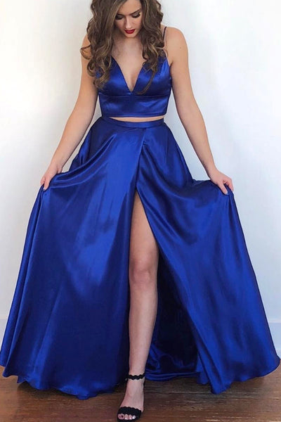 MACloth Straps V neck Two Piece Royal Blue Prom Dress Formal Evening Gown