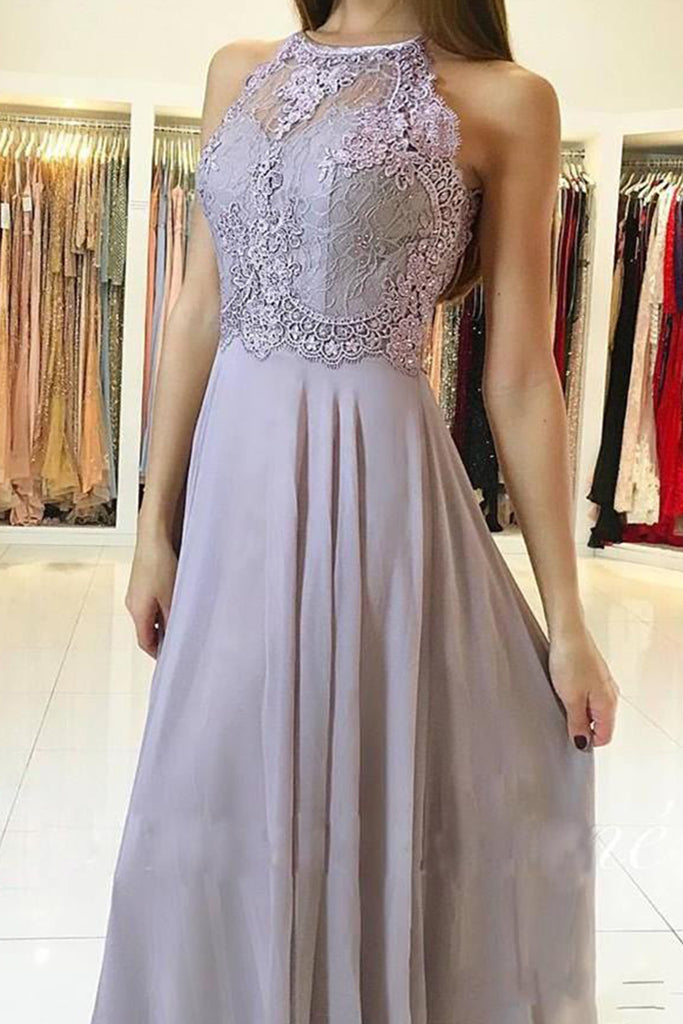 MACloth Halter O Neck Lace Chiffon Long Prom Dress Wisteria Formal Evening Gown