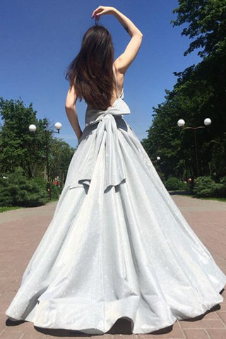 MACloth Straps V Neck Silver Long Prom Dress Formal Evening Gown with Bow