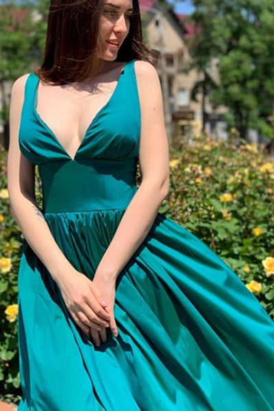 MACloth Straps V Neck Satin Long Prom Dress Teal Formal Evening Gown