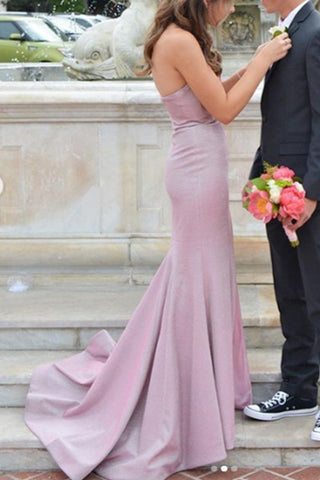 MACloth Strapless Sheath Long Prom Dress with Slit Fuchsia Silver Formal Evening Gown