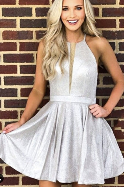 MACloth Halter O Neck Satin Mini Prom Homecoming Dress Mocha Silver Cocktail Dress