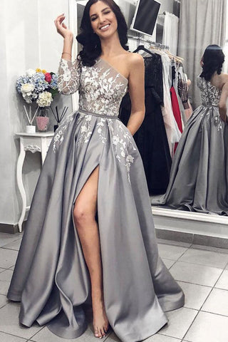 MACloth One Shoulder Long Sleeves Gray Prom Dress Elegant Formal Evening Gown