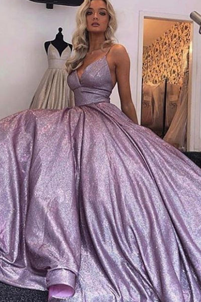 MACloth Spaghetti Straps V Neck Long Prom Dress Mocha Silver Formal Evening Gown
