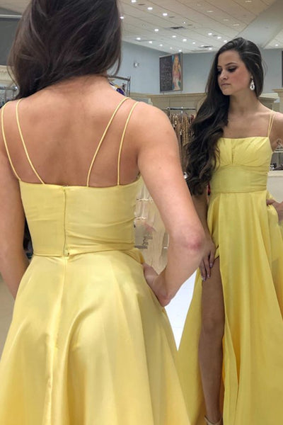 MACloth Spaghetti Straps Long Prom Dress Yellow Formal Evening Gown with Slit