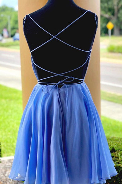 MACloth Spaghetti Straps Beaded Mini Prom Homecoming Dress Sky Blue Cocktail Dress
