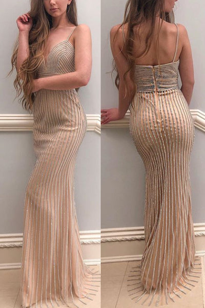 MACloth Straps V neck Crystals Long Prom Dress Silver Formal Evening Gown