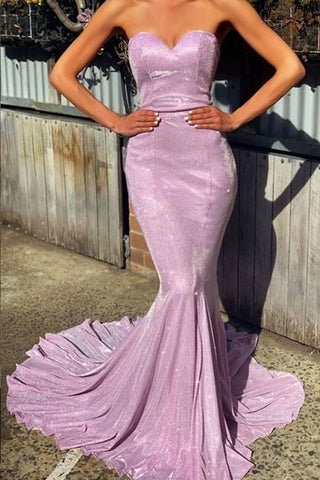 MACloth Mermaid Strapless Sweetheart Long Prom Dress Fuchsia Silver Formal Evening Gown