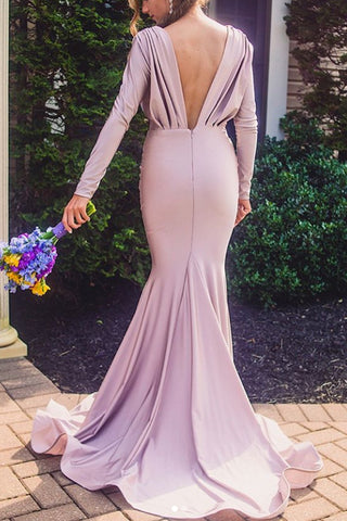 MACloth Mermaid Long Sleeves V Neck Maxi Formal Evening Gown Jersey Mother of the Brides Dress