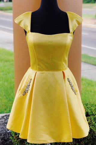 MACloth Cap Sleeves Satin Mini Prom Homecoming Dress Yellow Cocktail Party Dress
