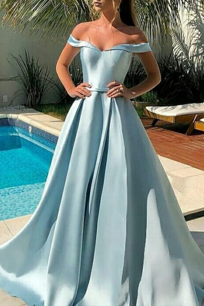MACloth Off the Shoulder Maxi Prom Dress Sky Blue Formal Evening Gown