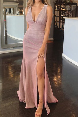 MACloth Straps V Neck Sheath Maxi Prom Dress with Slit Fuchsia Silver Formal Evening Gown