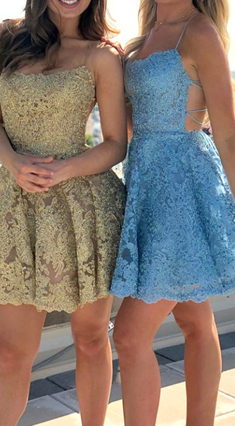 MACloth Spaghetti Straps Lace Mini Prom Homecoming Dress Gold / Blue Cocktail Party Dress