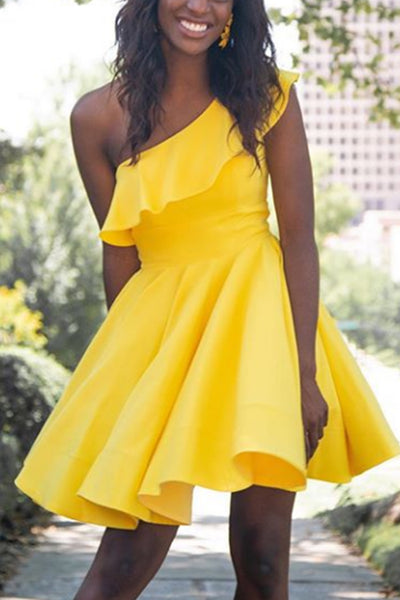 MACloth One Shoulder Mini Prom Homecoming Dress Yellow Cocktail Party Dress