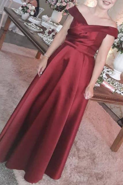 MACloth Off the Shoulder Satin Long Prom Dress Elegant Formal Evening Gown
