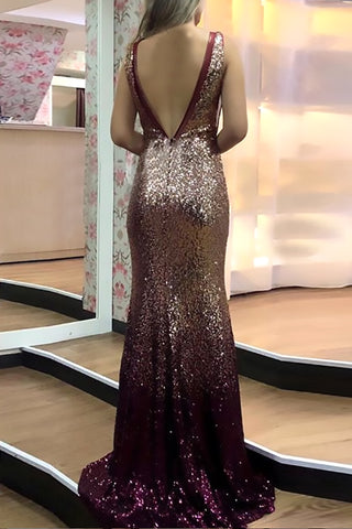 MACloth Straps V Neck Sheath Sequin Long Prom Dress Elegant Formal Evening Gown