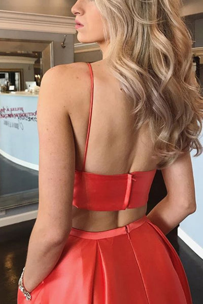 MACloth Spaghetti Straps V neck 2 Piece Prom Dress Hot Pink / Coral Formal Gown