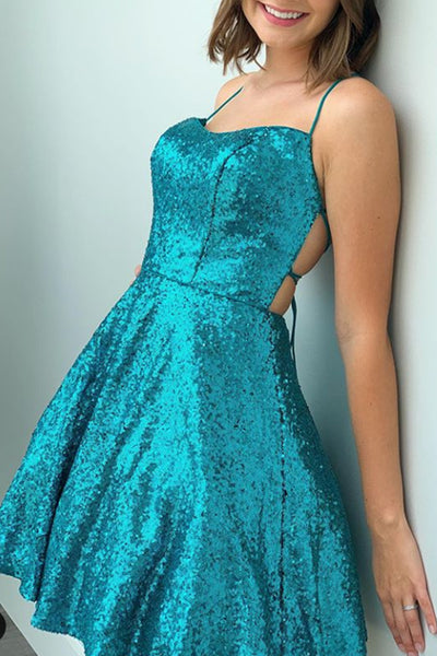 MACloth Spaghetti Straps Sequin Mini Prom Homecoming Dress Turquoise Cocktail Party Dress