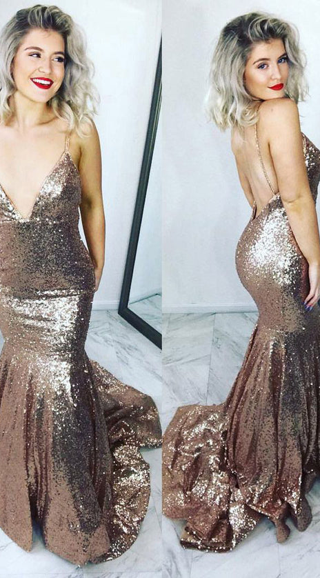 MACloth Mermaid Straps V neck Sequin Prom Dress Rose Gold Formal Evening Gown