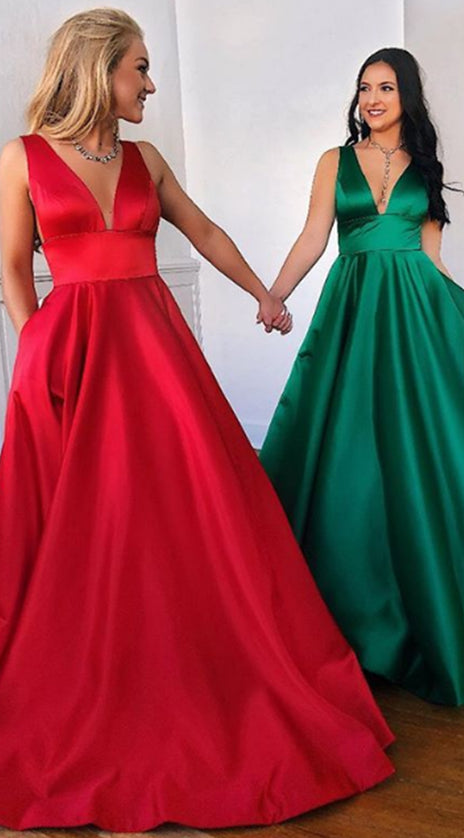 MACloth Straps V Neck Satin Long Prom Dress Red Formal Evening Gown