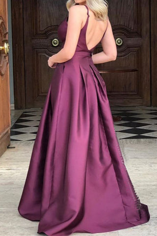 MACloth Straps V Neck Satin Long Prom Dress Wine Red Formal Evening Gown