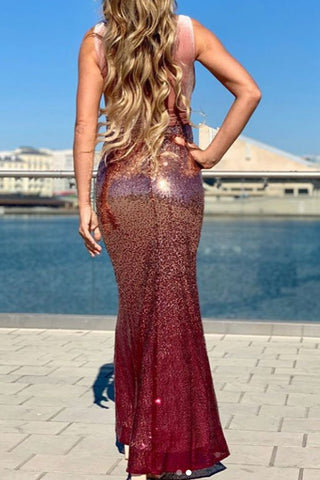 MACloth Sheath Straps V Neck Sequin Burgundy Formal Dress Rose Gold Long Bridesmaid Dress