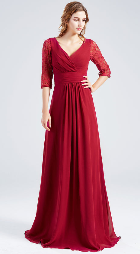 MACloth 3/4 Sleeves Lace Chiffon Long Mother of the Brides Dress Burgundy Formal Evening Gown