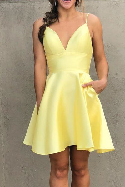 MACloth Spaghetti Straps V Neck Satin Mini Prom Homecoming Dress Hot Pink Cocktail Dress