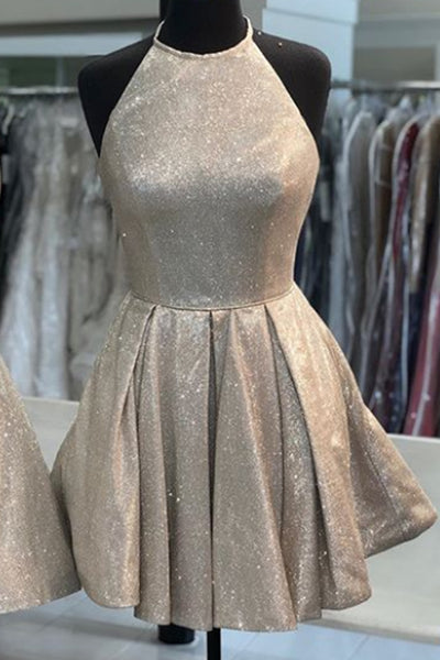 MACloth Halter O Neck Mini Prom Homecoming Dress Mocha Silver Cocktail Party Dress