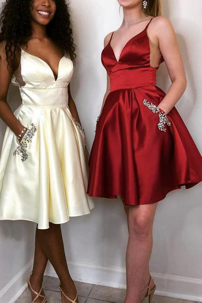 MACloth Straps V Neck Satin Short Prom Homecoming Burgundy Cocktail Party Dress