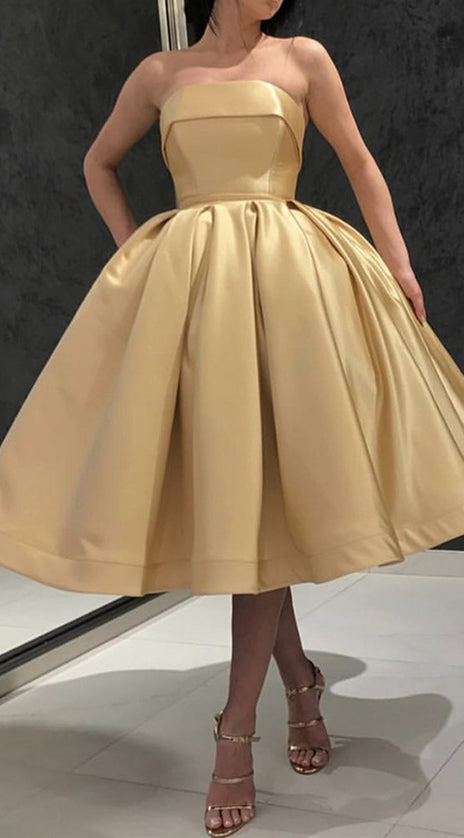 MACloth Strapless Midi Prom Homecoming Dress Gold Cocktail Party Dress