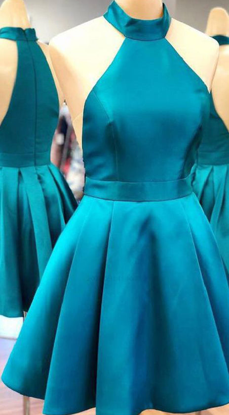 MACloth Halter High Neck Satin Short Prom Homecoming Dress Blue Formal Cocktail Dress