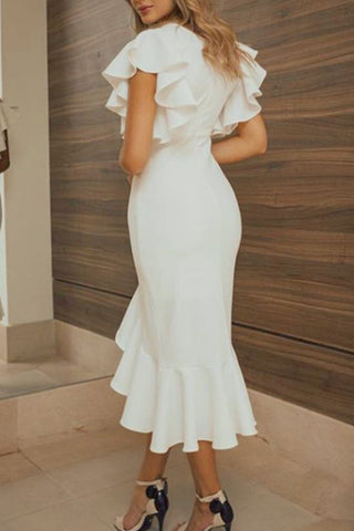 MACloth Short Sleeves with Ruffled Midi Cocktail Party Dress Ivory Wedding Party Dress