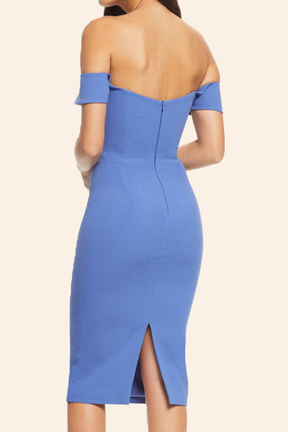 MACloth Off the Shoulder Midi Sheath Cocktail Dress Blue Formal Party Dress