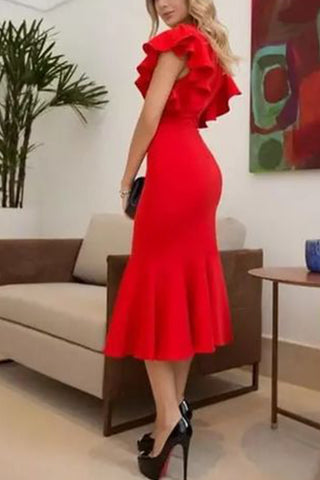 MACloth Short Sleeves with Ruffled Sheath Midi Cocktail Dress Red Tea Length Formal Party Dress