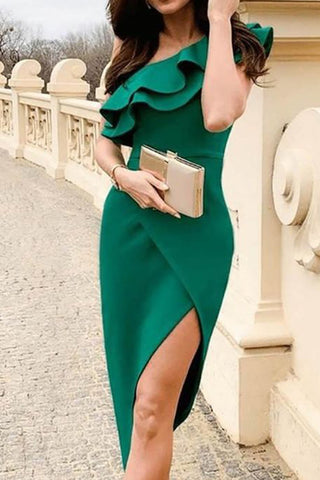 MACloth One Shoulder with Ruffled High Low Midi Cocktail Dress Green Formal Party Dress