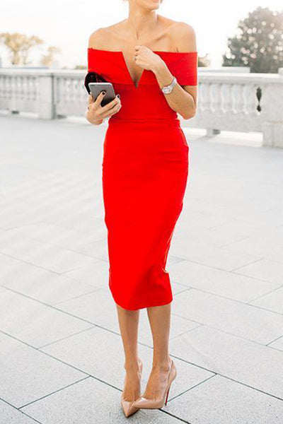 MACloth Off the Shoulder Sheath Midi Cocktail Dress Red Formal Party Dress