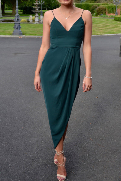 MACloth Spaghetti Straps V Neck High Low Cocktail Party Dress Dark Green Formal Gown