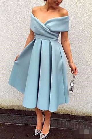 MACloth Off the Shoulder Satin Midi Cocktail Dress Sky Blue Tea Length Formal Dress