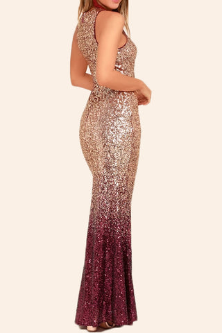 MACloth Sheath Sequin Rose Gold Burgundy Formal Evening Gown Maxi Bridesmaid Dress