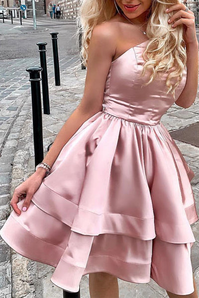 MACloth Strapless Tiered Mini Prom Homecoming Dress Pearl Pink Cocktail Party Dress