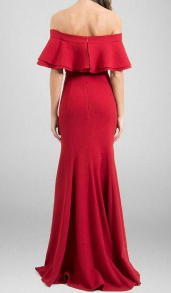 MACloth Off the Shoulder Ruffled Mermaid Prom Dress Red Formal Evening Gown