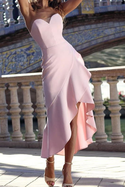 MACloth Strapless High Low Pink Cocktail Dress Sheath Wedding Party Dress