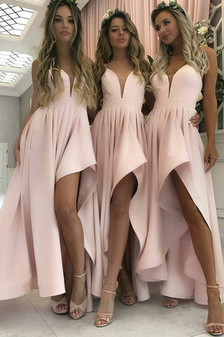 MACloth Spaghetti Straps V Neck High Low Bridesmaid Dress Pink Cocktail Party Dress