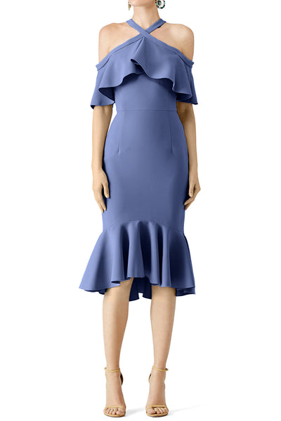 MACloth Steel Blue Cold Shoulder Ruffle Cocktail Dress Midi Wedding Party Dress